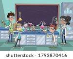 cartoon students doing research ...   Shutterstock .eps vector #1793870416