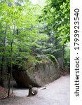 Small photo of Glacial Boulder, The Flume Gorge, Lincoln, New Hampshire, USA . 8/1/2020