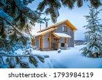 Winter Landscape. Cottage On...