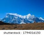 A Stupa With Annapurna Chain A...