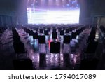 Small photo of Seating arrangement for concerts ,Keep spaced between each chairs make separate for social distancing concept to avoid Coronavirus (COVID-19) pandemic.