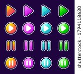set of colorful game button...