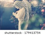 Statue Of Angel In Garden With...