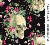 watercolor floral skull... | Shutterstock . vector #1794137950