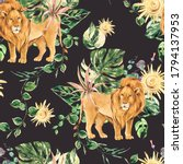 watercolor floral tropical lion ... | Shutterstock . vector #1794137953