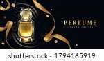 perfume bottle with gold... | Shutterstock . vector #1794165919