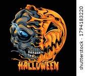 halloween pumpkin half skull ... | Shutterstock .eps vector #1794183220