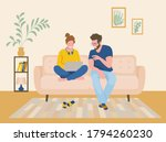 a man and a woman are sitting...   Shutterstock .eps vector #1794260230