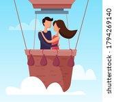 love couple flying on balloon... | Shutterstock .eps vector #1794269140
