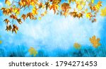 orange fall  leaves and rain ...   Shutterstock . vector #1794271453
