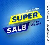 super sale banner on blue... | Shutterstock .eps vector #1794292750