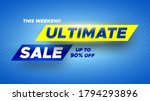 Ultimate Sale Banner On Blue...
