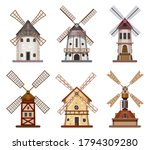 mill or windmill wooden wheat... | Shutterstock .eps vector #1794309280