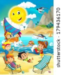 the kids playing at the beach ... | Shutterstock . vector #179436170
