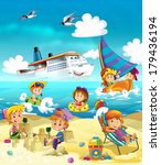 the kids playing at the beach ... | Shutterstock . vector #179436194