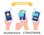 set ot mobile phone with credit ...   Shutterstock .eps vector #1794378496
