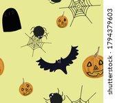 halloween seamless pattern on...   Shutterstock . vector #1794379603