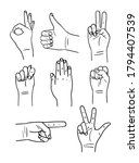 hand poses icon  flat of the... | Shutterstock .eps vector #1794407539