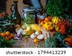 Autumn Vegetables On A Wooden...