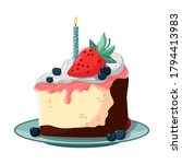 a slice of birthday cake with a ... | Shutterstock .eps vector #1794413983