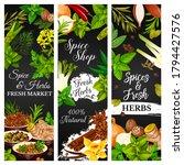 cooking herbs and seasonings ...   Shutterstock .eps vector #1794427576