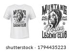 Horse mascot t-shirt print vector template. Angry stallion horse mustang head with mane. Equestrian sport club, rodeo show or horse racing competition apparel custom design print mockup