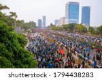 Small photo of JAKARTA, INDONESIA - SEPTEMBER 24, 2019: Aerial view of Gatot Subroto street, Senayan, Jakarta (in front of MPR building) when thousand people protested the ratification of RKUHP and KPK Law.
