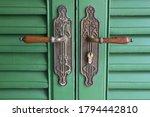 Vintage Green Wooden Entrance...