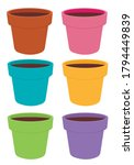Flowerpot Sticker Set On White...