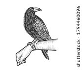 crow on hand sketch engraving... | Shutterstock .eps vector #1794460096