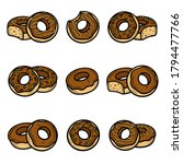 donut set. collection icons... | Shutterstock .eps vector #1794477766