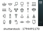 Lighting And Lamps Icons Set....