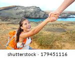 helping hand   hiker woman... | Shutterstock . vector #179451116