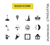 bright icons set with light...