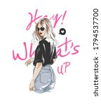 hey what's up slogan with girl... | Shutterstock .eps vector #1794537700