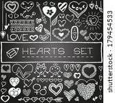 doodle set of hearts and arrows ... | Shutterstock .eps vector #179454533