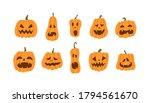 set of halloween pumpkins...   Shutterstock .eps vector #1794561670