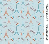 eiffel tower and flag france... | Shutterstock .eps vector #1794563983