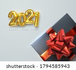 2021. happy new year. gift box... | Shutterstock .eps vector #1794585943