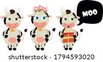 set of cartoon cows. moo bubble.... | Shutterstock .eps vector #1794593020