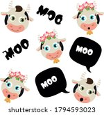 set of cartoon cows. moo bubble.... | Shutterstock .eps vector #1794593023