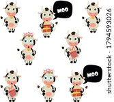 set of cartoon cows. moo bubble.... | Shutterstock .eps vector #1794593026