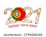 happy new 2021 year with flag... | Shutterstock .eps vector #1794606160