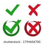 set check mark and cross.... | Shutterstock .eps vector #1794606700