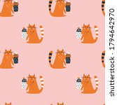 seamless pattern with cute cat. ...   Shutterstock .eps vector #1794642970