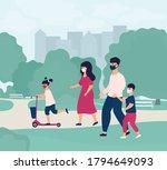 happy family weekend. parents... | Shutterstock .eps vector #1794649093