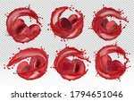 red cherry juice. collection... | Shutterstock .eps vector #1794651046
