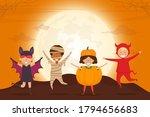 halloween kids costume party.... | Shutterstock .eps vector #1794656683
