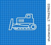 blue banner with bulldozer icon.... | Shutterstock .eps vector #1794659833
