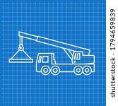blue banner with crane truck... | Shutterstock .eps vector #1794659839